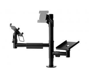 POS ergonomic mounting solution with a single VESA holder and two arms