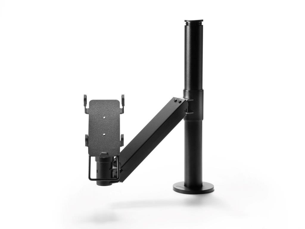 Card payment terminal stand that provides accessibility to disabled people.